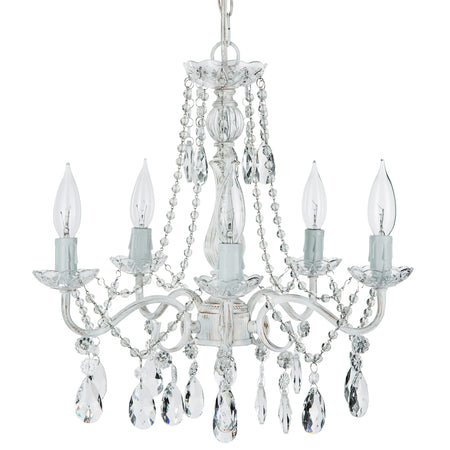 Amalfi decor elizabeth white washed 5 light crystal draped pendant plug in chandelier lighting