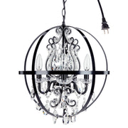 Amalfi Decor Luna 5 Light Black Globe Crystal Beaded Orb Chandelier