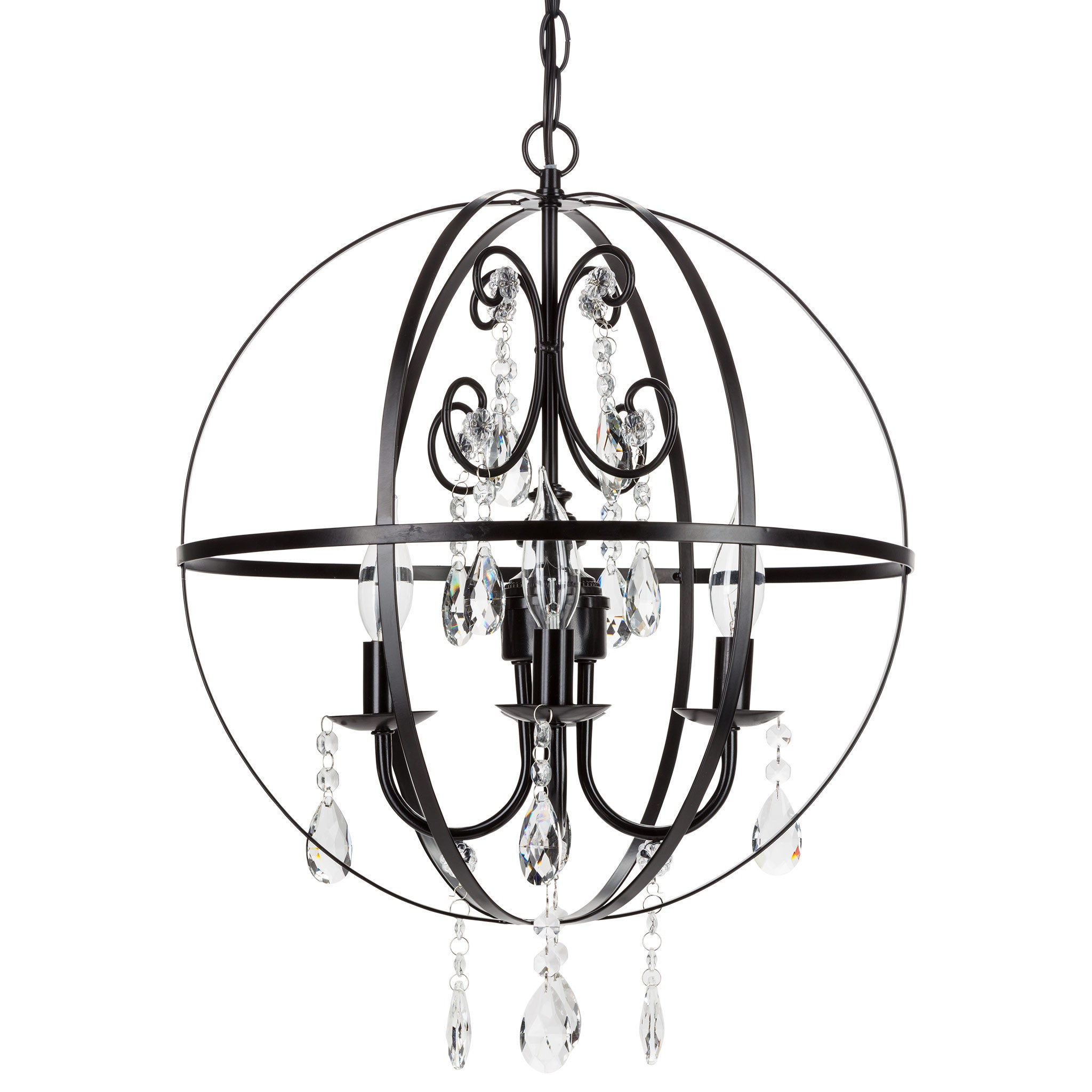 Amalfi Decor 4 Light Contemporary Crystal Orb Plug-In Chandelier (Black) | Wrought Iron Frame with Glass Crystals