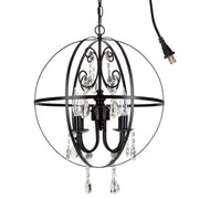 Amalfi Decor Luna 4 Light Black Globe Sphere Orb Crystal Chandelier