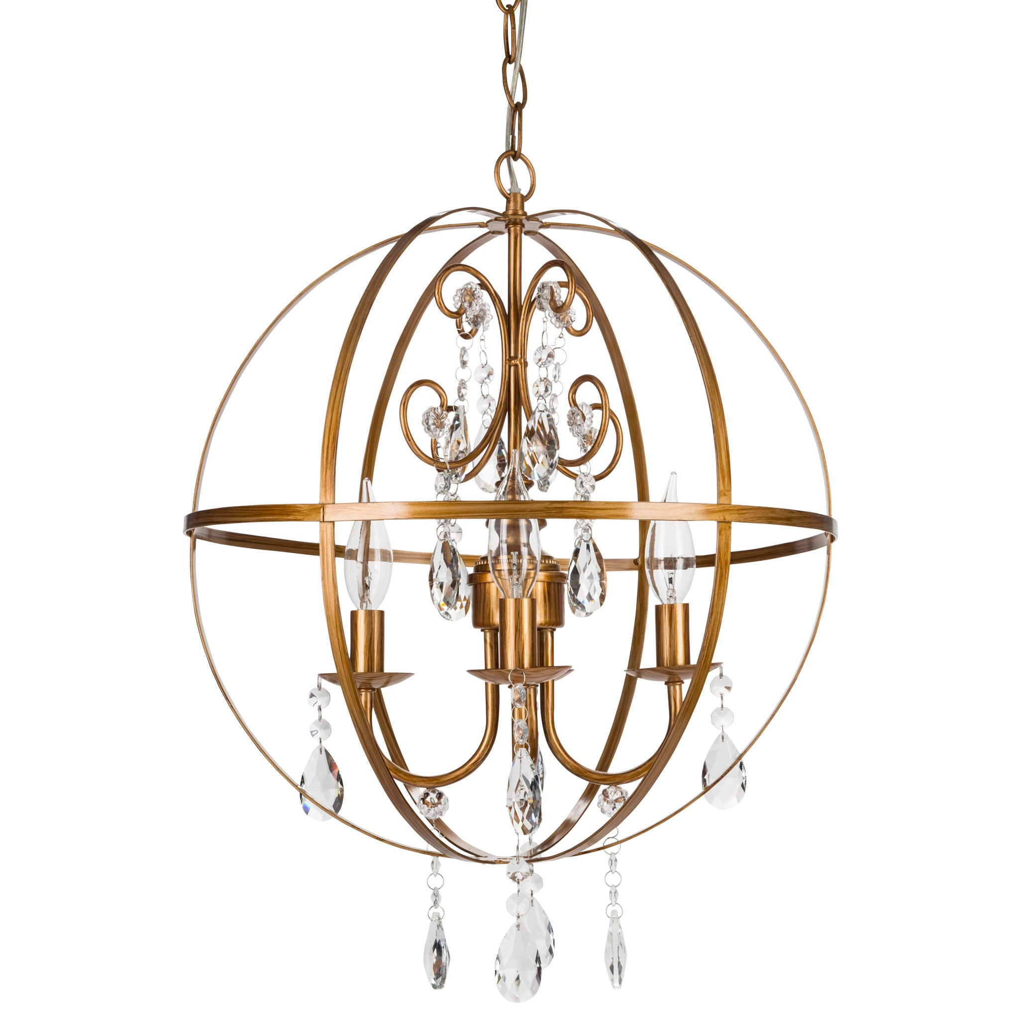 Amalfi Decor 4 Light Contemporary Crystal Orb Plug-In Chandelier (Gold) | Wrought Iron Frame with Glass Crystals