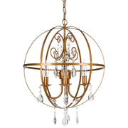 Amalfi Decor Luna 4 Light Gold Globe Sphere Orb Crystal Chandelier