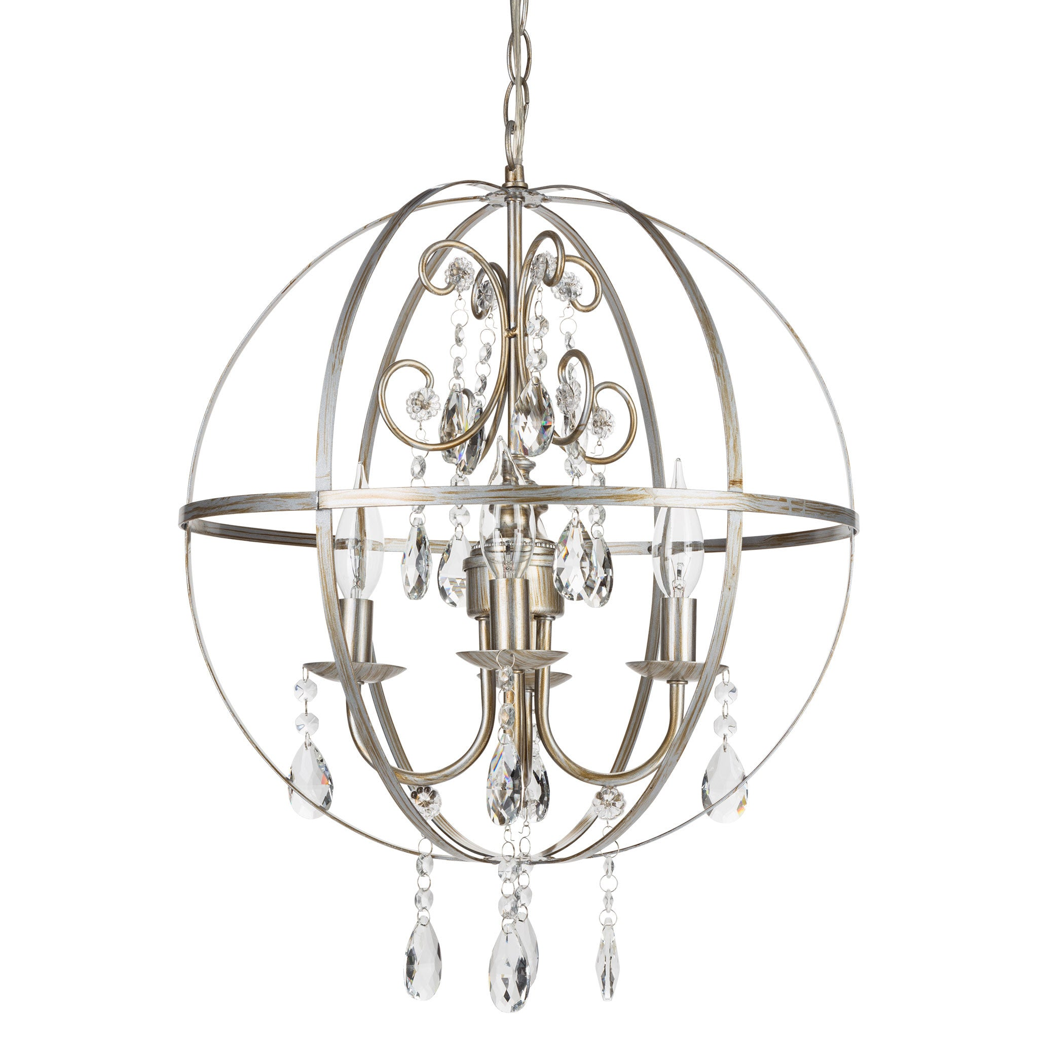 Amalfi Decor 4 Light Contemporary Crystal Orb Plug-In Chandelier (Silver) | Wrought Iron Frame with Glass Crystals