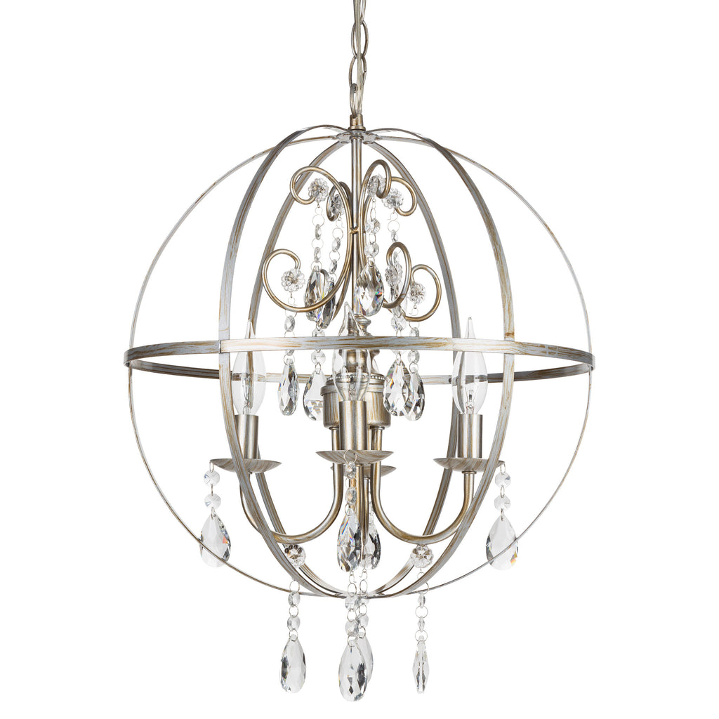 Amalfi Decor Luna 4 Light Silver Globe Sphere Orb Crystal Chandelier