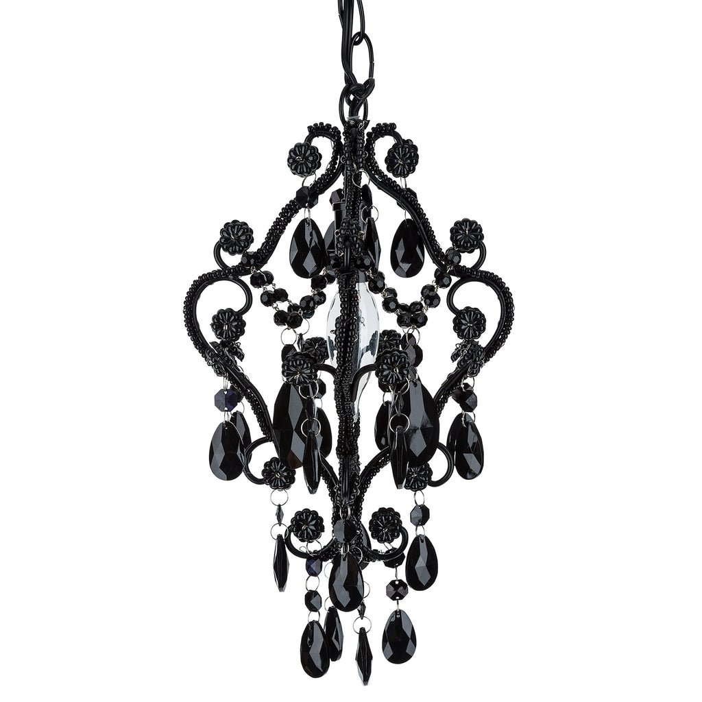 Mini 1 Light Black Crystal Beaded Nursery Chandelier