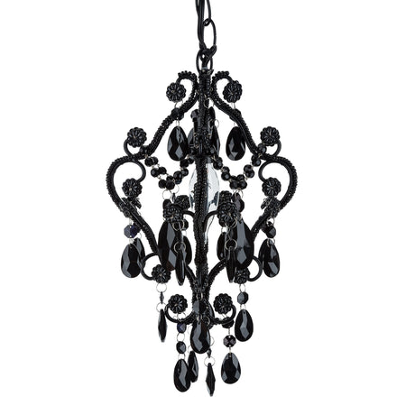 Amalfi decor mini 1 light crystal beaded black nursery plug in chandelier