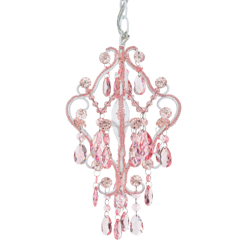 Amalfi Decor Mini 1-Light Crystal-Beaded Pink Nursery Plug-In Chandelier
