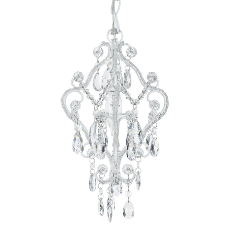 Amalfi Decor Mini 1-Light Crystal-Beaded White Nursery Plug-In Chandelier