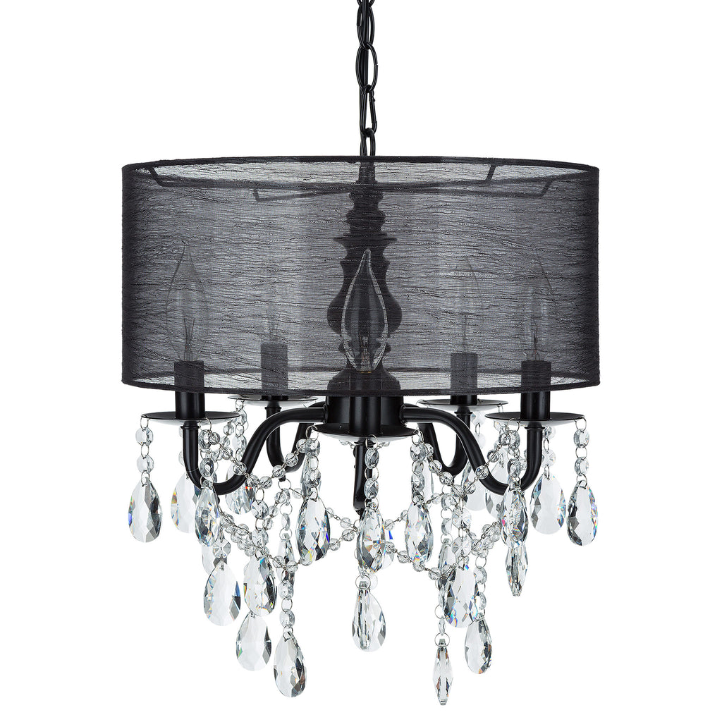 5 light black crystal plug in chandelier with shade amalfi decor amalfi decor 5 light black crystal plug in chandelier with cylinder drum shade aloadofball Images