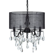 Amalfi Decor 5-Light Black Crystal Plug-In Chandelier with Cylinder Drum Shade