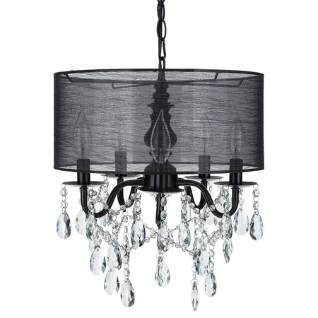 Amalfi decor 5 light black crystal plug in chandelier with cylinder drum shade