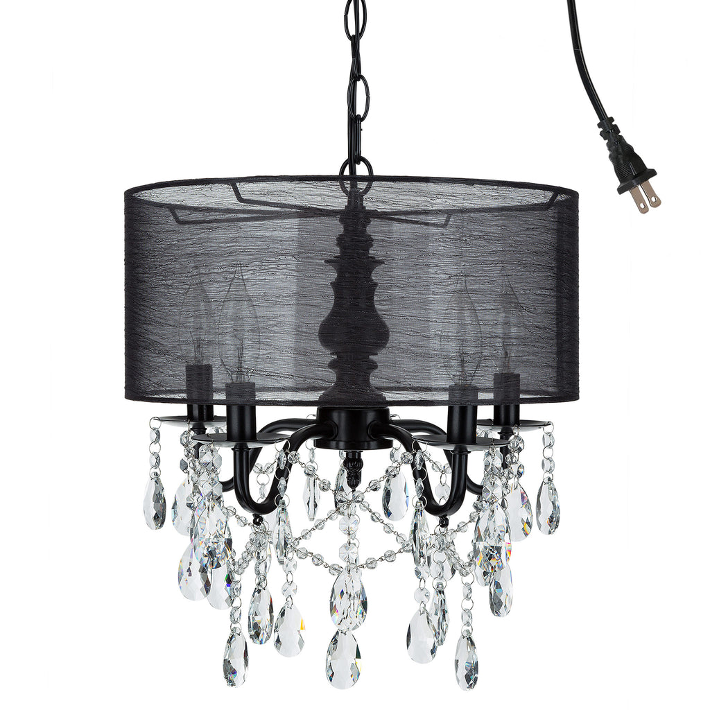 5 light black crystal plug in chandelier with shade amalfi decor amalfi decor 5 light black crystal plug in chandelier with cylinder drum shade aloadofball Image collections