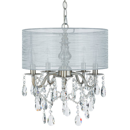 Amalfi Decor 5-Light Vintage Silver Crystal Plug-In Chandelier with Cylinder Drum Shade