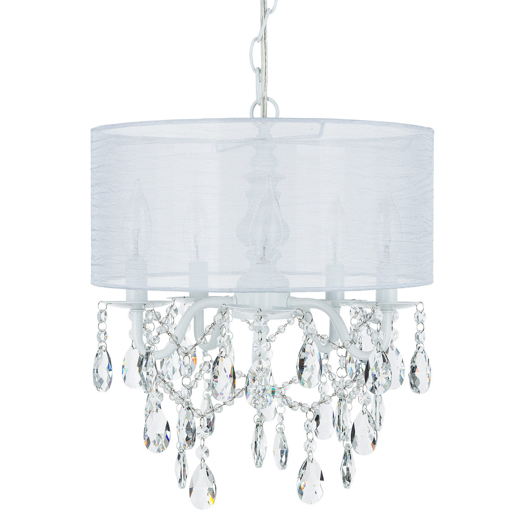Amalfi Decor 5-Light White Crystal Plug-In Chandelier with Cylinder Drum Shade