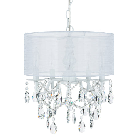 Amalfi decor 5 light white crystal plug in chandelier with cylinder drum shade
