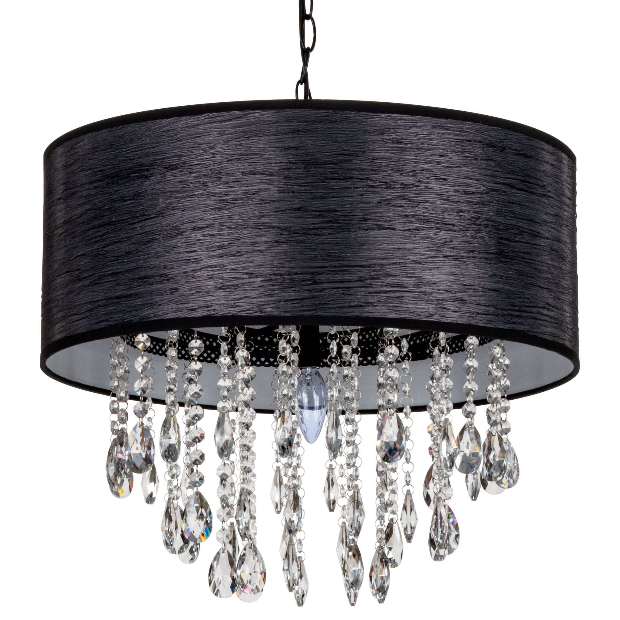 Amalfi Decor Large 5 Light Crystal Plug-In Chandelier with Cylinder Shade (Black)     Wrought Iron Frame with Glass Crystals