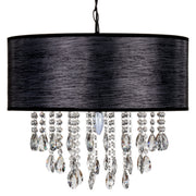 Large 5 Light Crystal Plug-In Chandelier with Cylinder Shade (Black) by Amalfi Decor