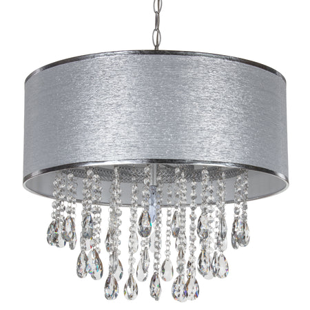 Large 5 Light Crystal Plug-In Chandelier with Cylinder Shade (Silver) by Amalfi Decor