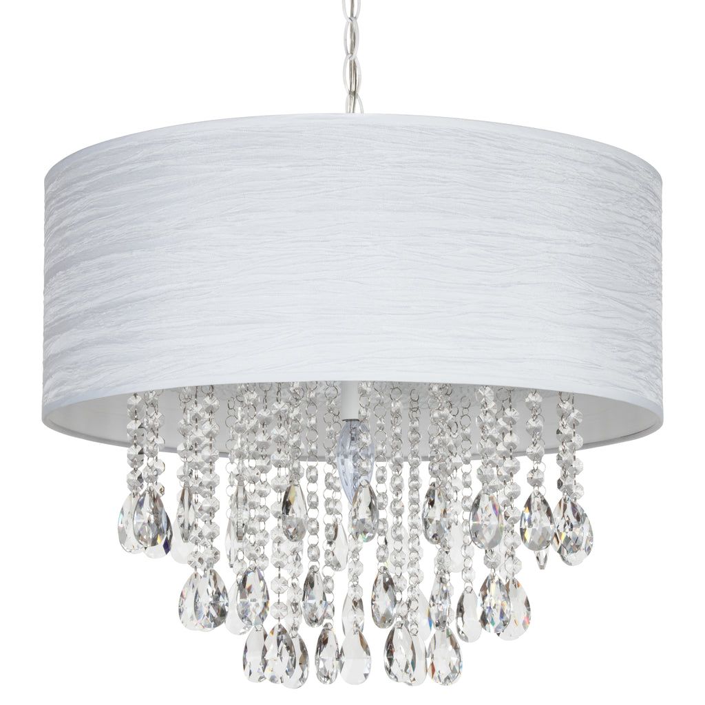 Large 5 Light Crystal Plug-In Chandelier with Cylinder Shade (White) by Amalfi Decor