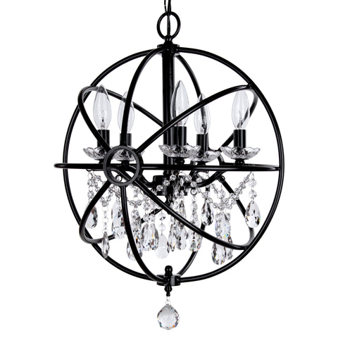 Black 5 Light Modern Crystal Orb Plug-In Chandelier by Amalfi Decor