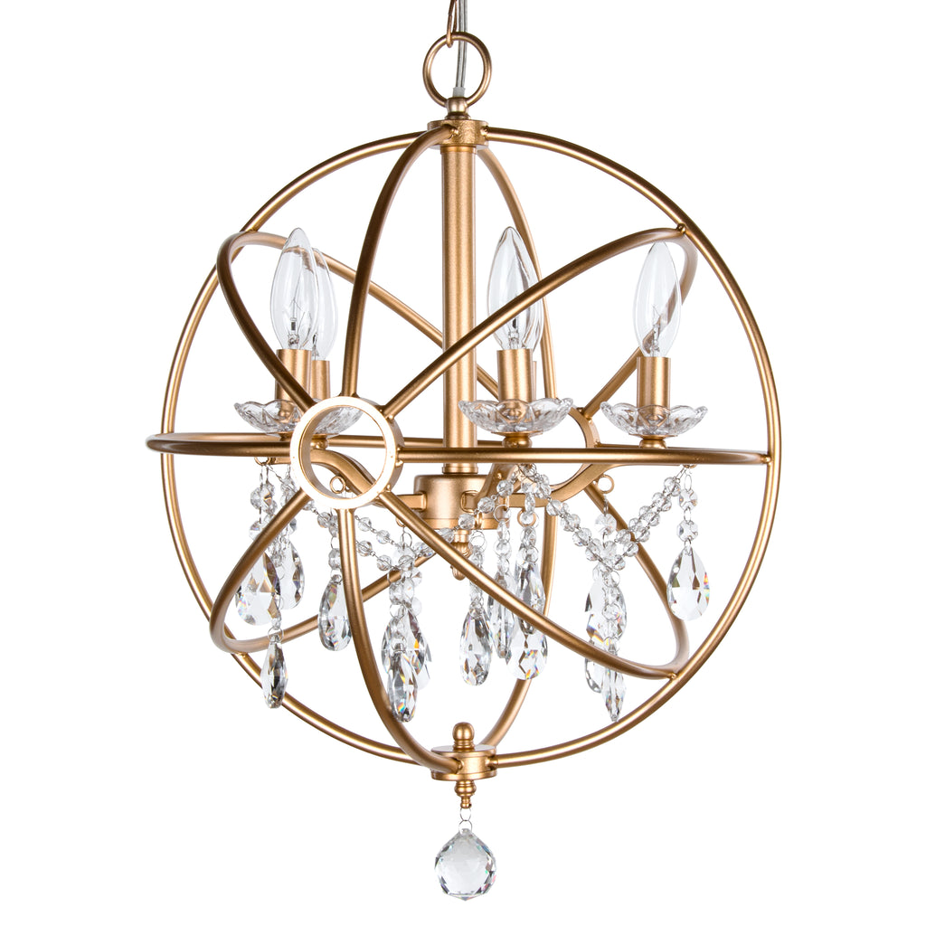 Gold 5 Light Modern Crystal Orb Plug-In Chandelier by Amalfi Decor