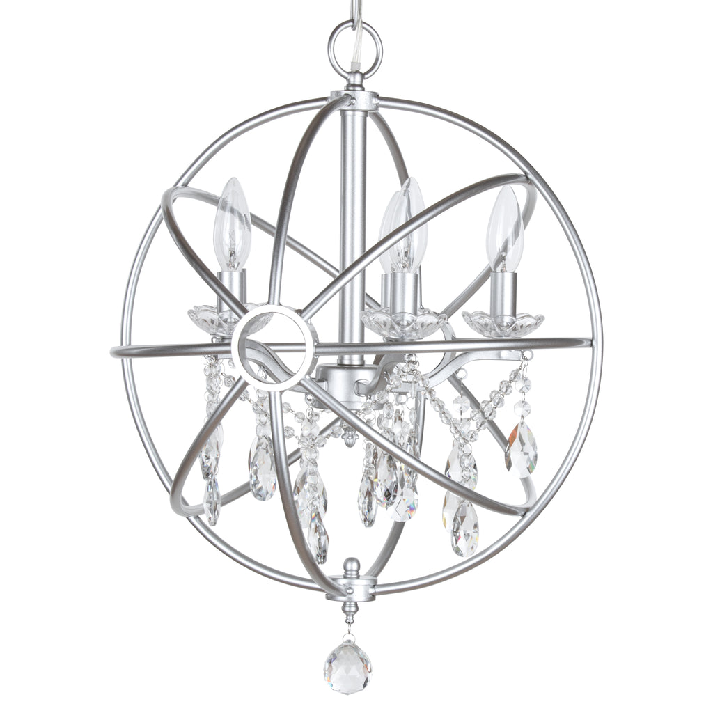 Silver 5 Light Modern Crystal Orb Plug-In Chandelier by Amalfi Decor
