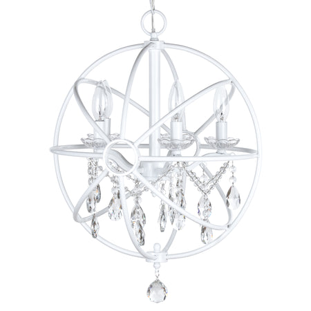 White 5 Light Modern Crystal Orb Plug-In Chandelier by Amalfi Decor