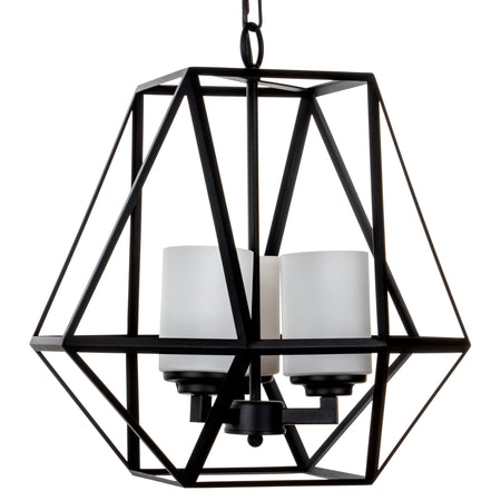 3-Light Wrought Iron Chandelier Pendant Light, Hard-wire Only (Black)