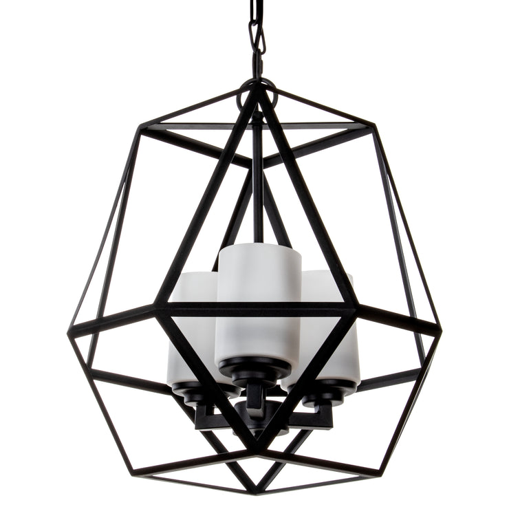 3-Light Black Wrought Iron Chandelier Pendant Light ...