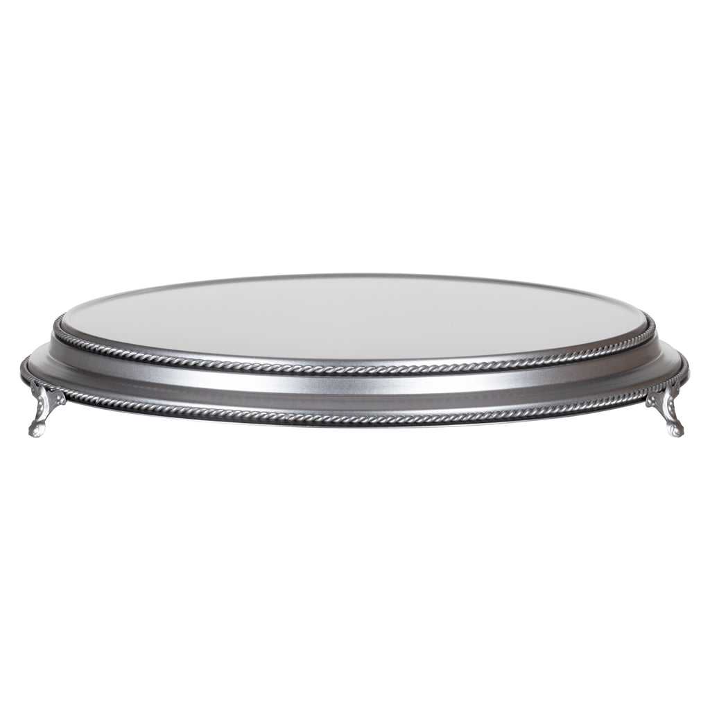 Amalfi Decor 18-inch round plateau metal wedding cake stand, silver finish