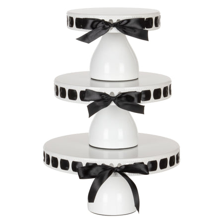 5 Color Ribbons with White Modern Cake Stand Set by Amalfi Decor