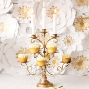 8-Piece Cupcake Stand with 3 Candle Holders (Gold)