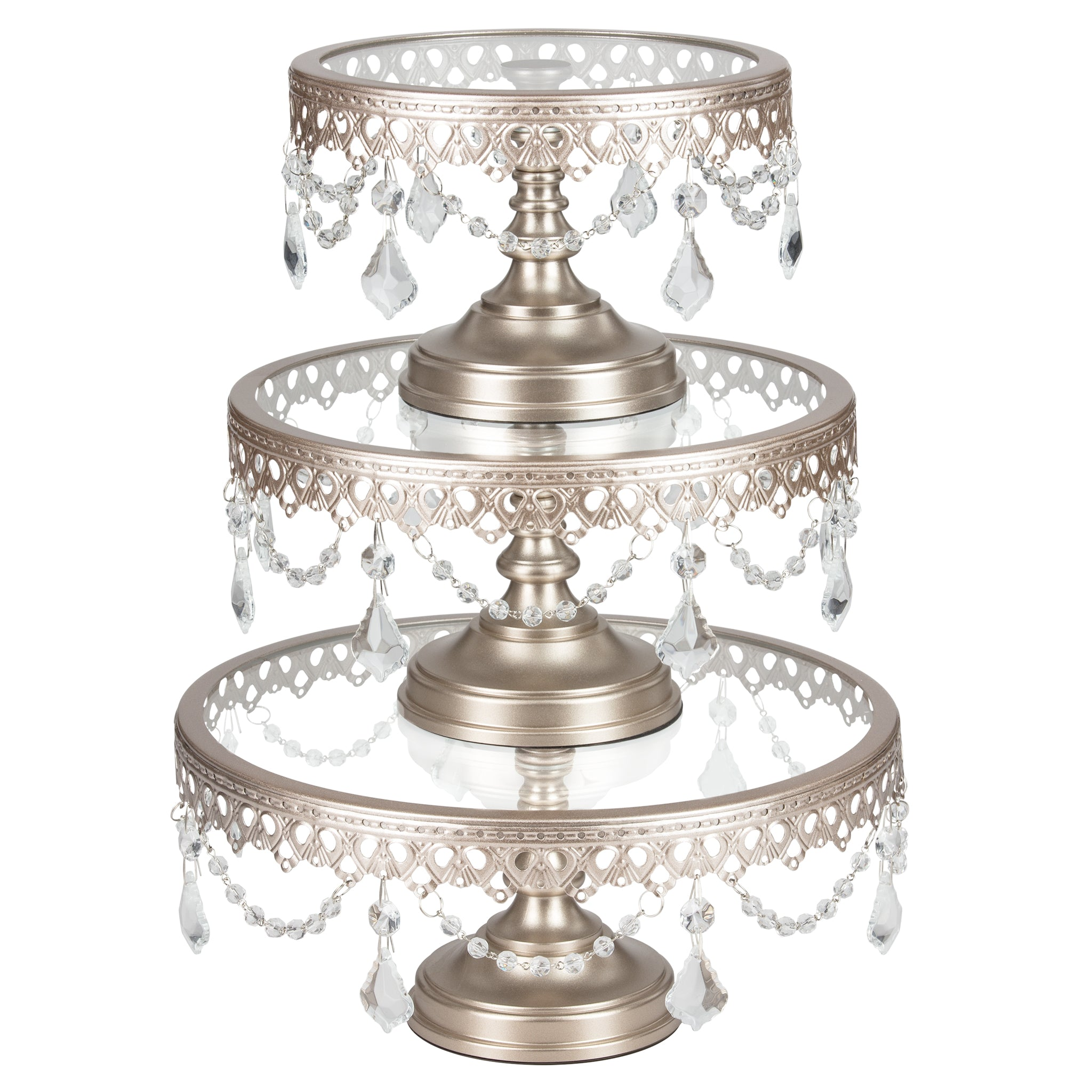 Amalfi Decor 3-Piece Glass Top Crystal Cake Stand Set (Champagne) | H | Stainless Steel Frame