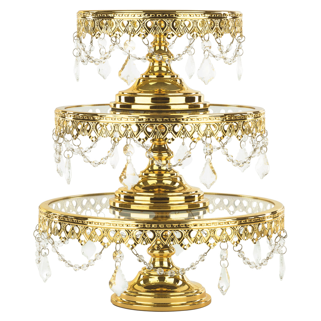 3 Piece Shiny Gold Plated Glass Top Cake Stand Set