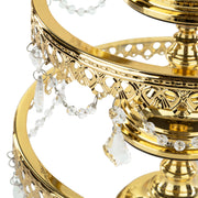 3-Piece Shiny Gold Plated Glass Top Cake Stand Set | Amalfi Decor