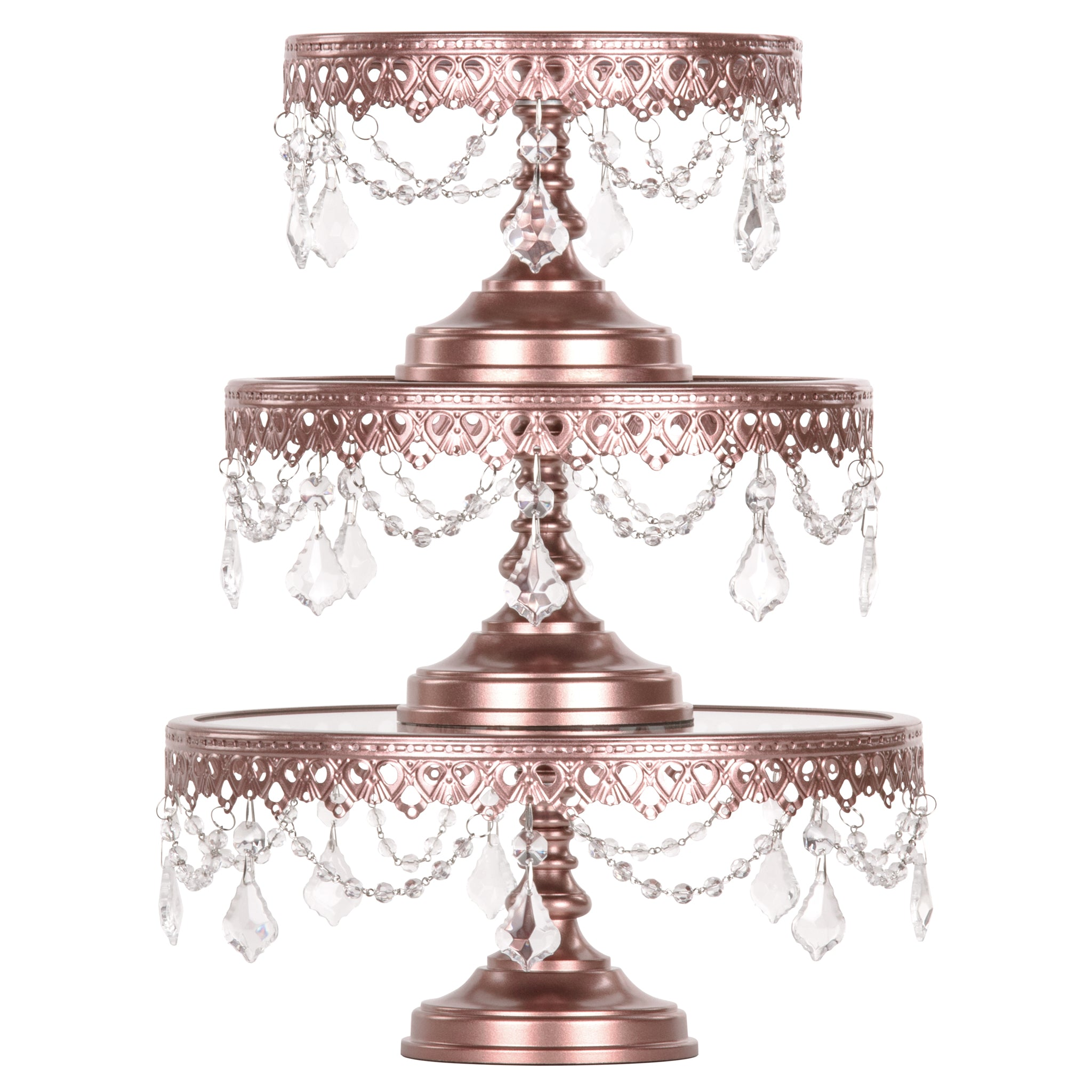 Amalfi Decor 3-Piece Glass Top Crystal Cake Stand Set (Rose Gold) | Stainless Steel Frame