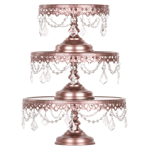 Victoria 3-Piece Rose Gold Glass Top Cake Stand Set by Amalfi Decor