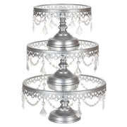 Victoria 3-Piece Antique Silver Glass Top Cake Stand Set by Amalfi Decor