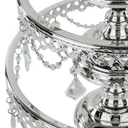 3-Piece Shiny Silver Chrome Plated Glass Top Cake Stand Set | Amalfi Decor