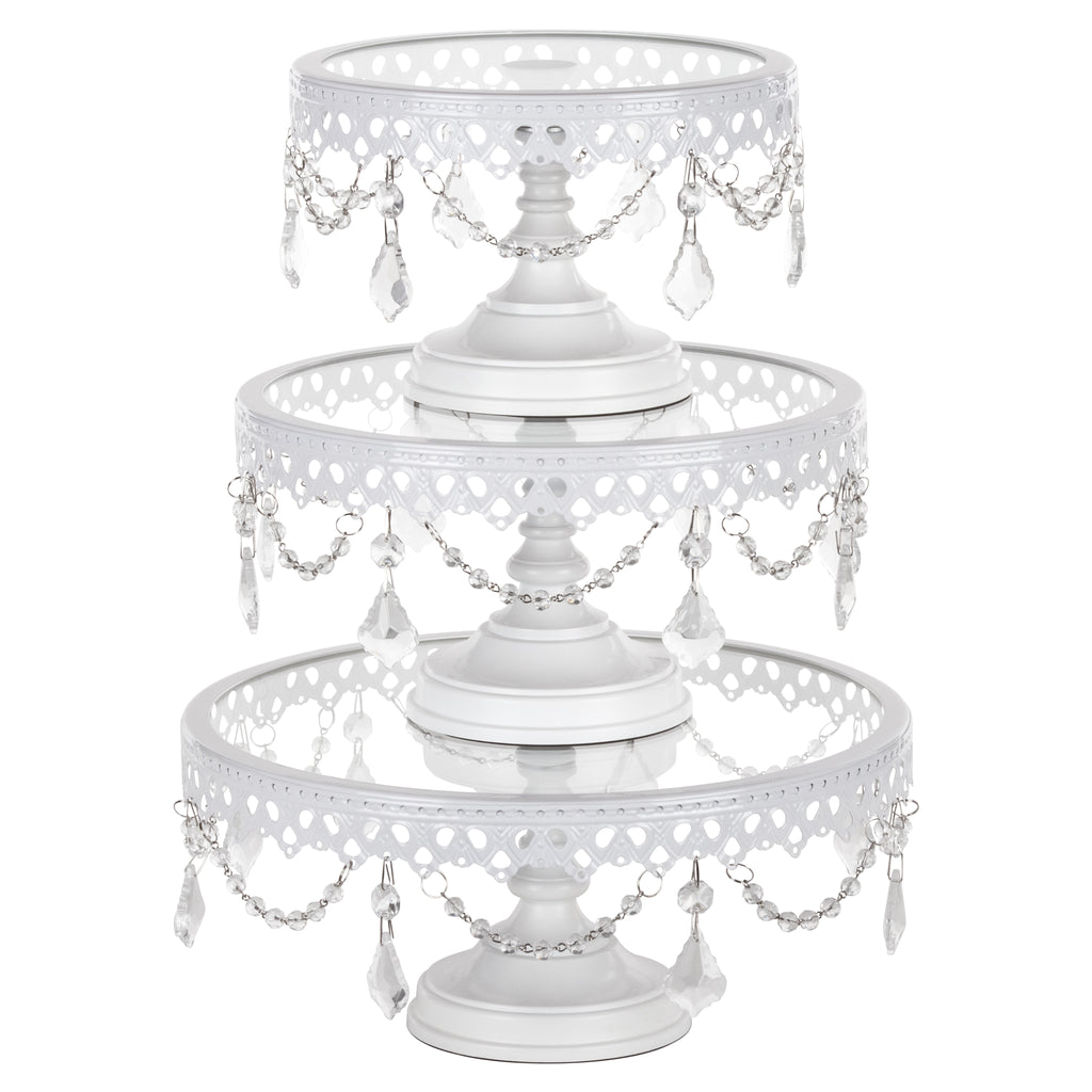 3 Piece White Glass Top Cake Stand Set Amalfi Decor