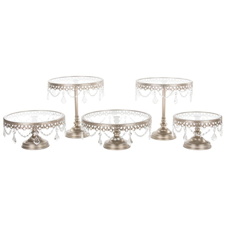 Champagne 5-Piece Glass Top Crystal Cake Stand Set by Amalfi Decor