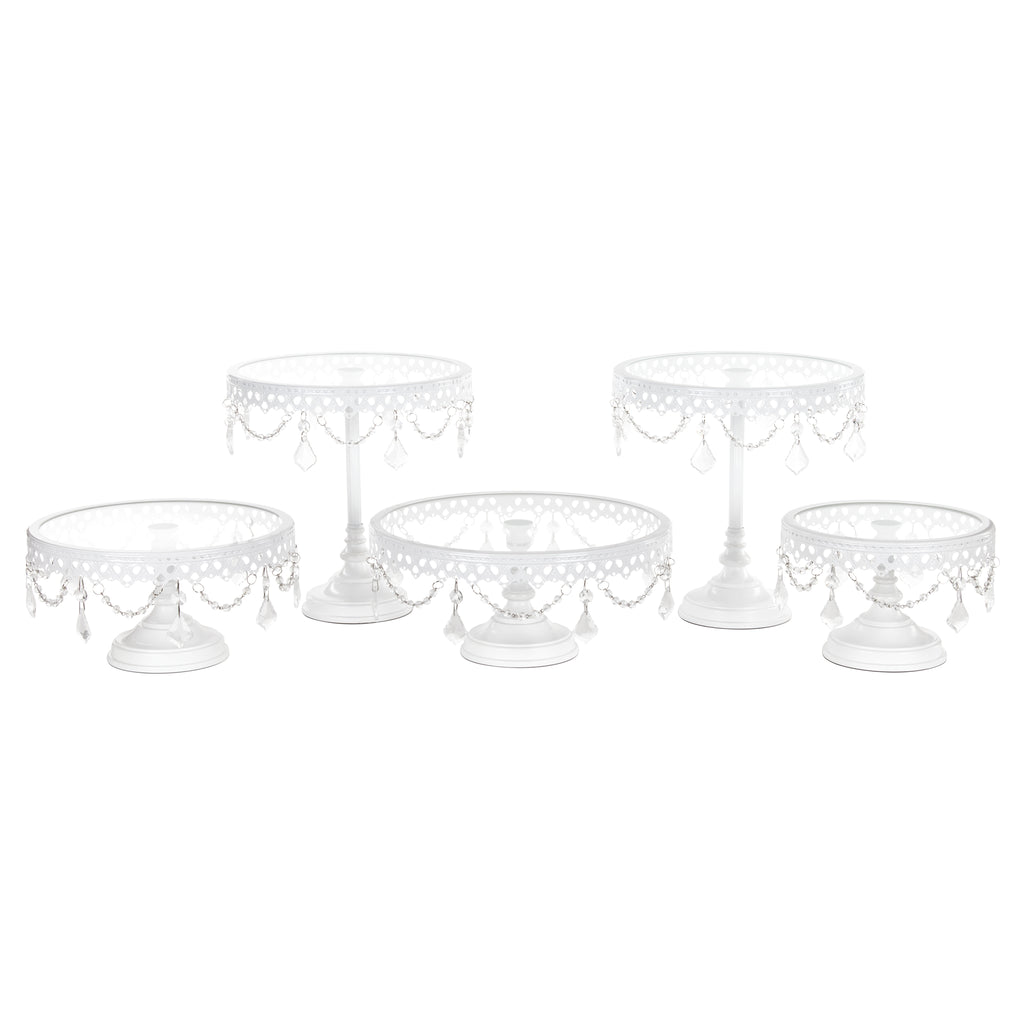 Amalfi Decor White 5-Piece Glass Top Crystal Cake Stand Set