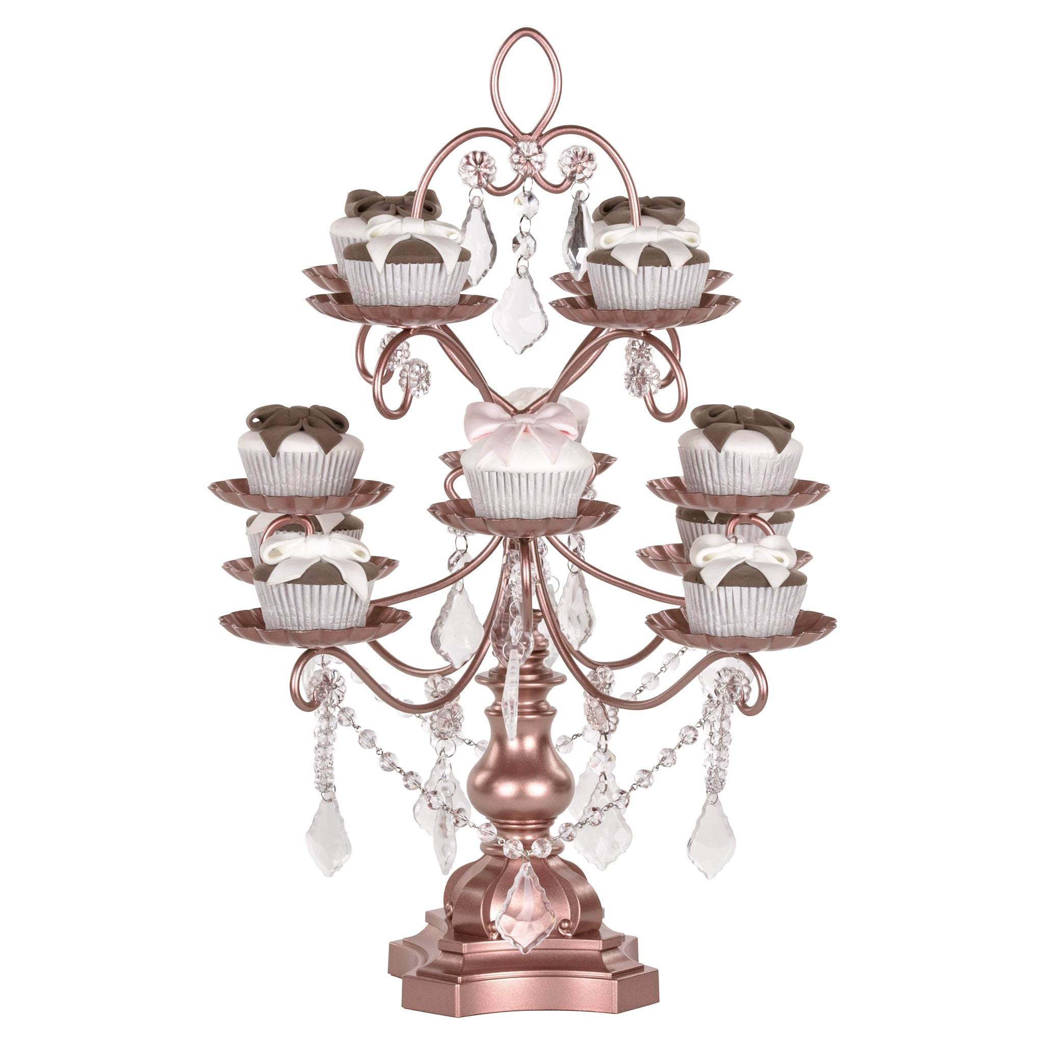 Amalfi Decor 12-Piece Vintage Crystal-Draped Cupcake Stand (Rose Gold) | Stainless Steel Frame