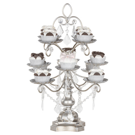 Madeleine Antique Silver 12 Piece Dessert Cupcake Stand by Amalfi Decor