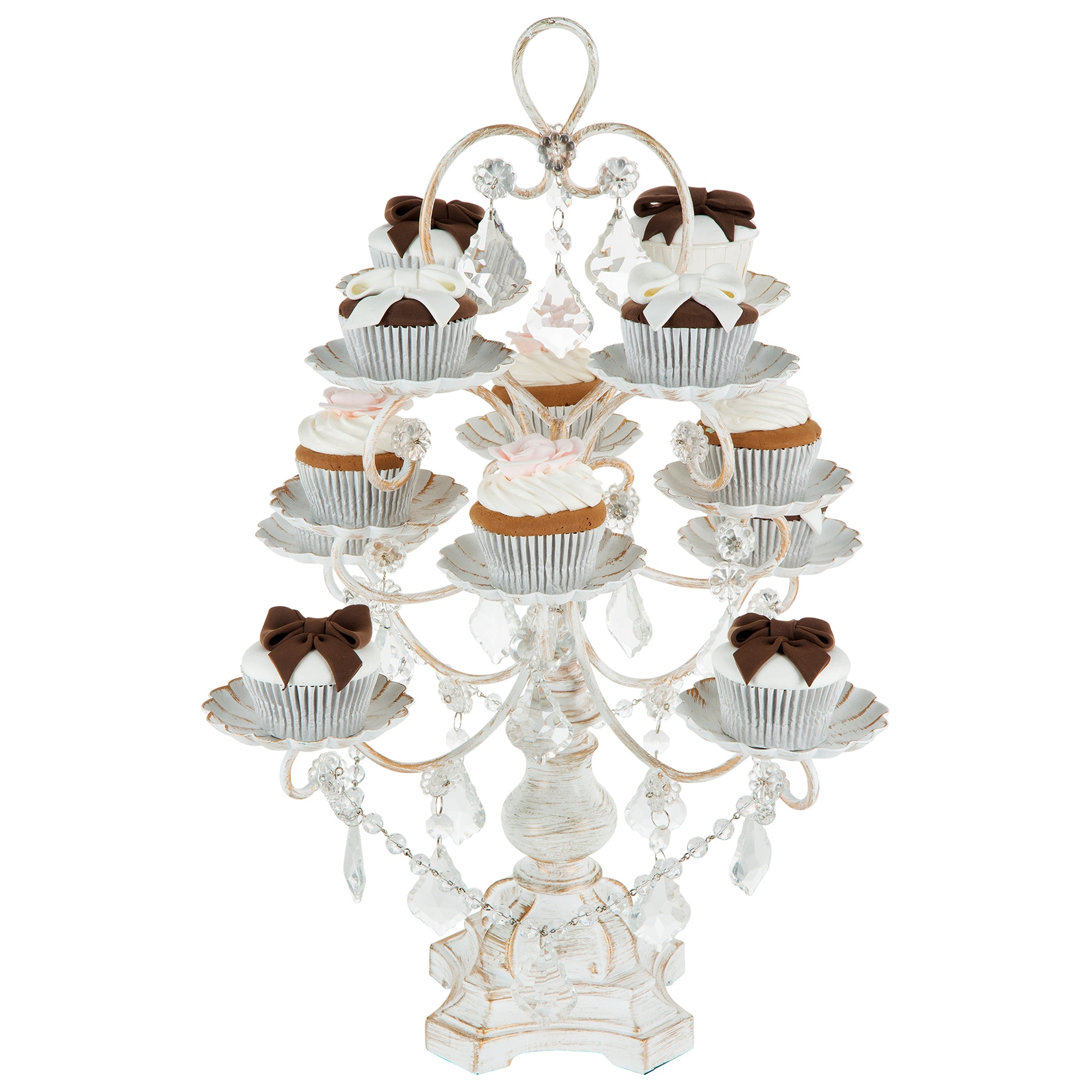Amalfi Decor 12-Piece Vintage Crystal-Draped Cupcake Stand (Whitewashed) | Stainless Steel Frame