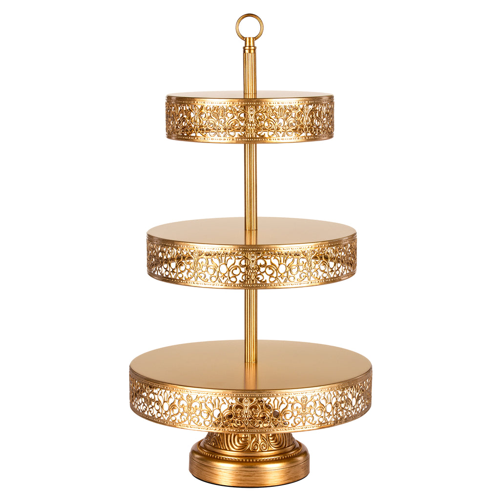 Victoria 3 Tier Antique Gold Metal Dessert Cupcake Stand by Amalfi Decor