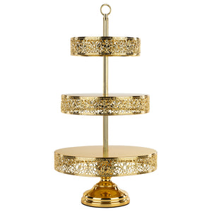 3-Tier Shiny Metallic Gold Plated Reversible Dessert Cupcake Stand | Amalfi Decor