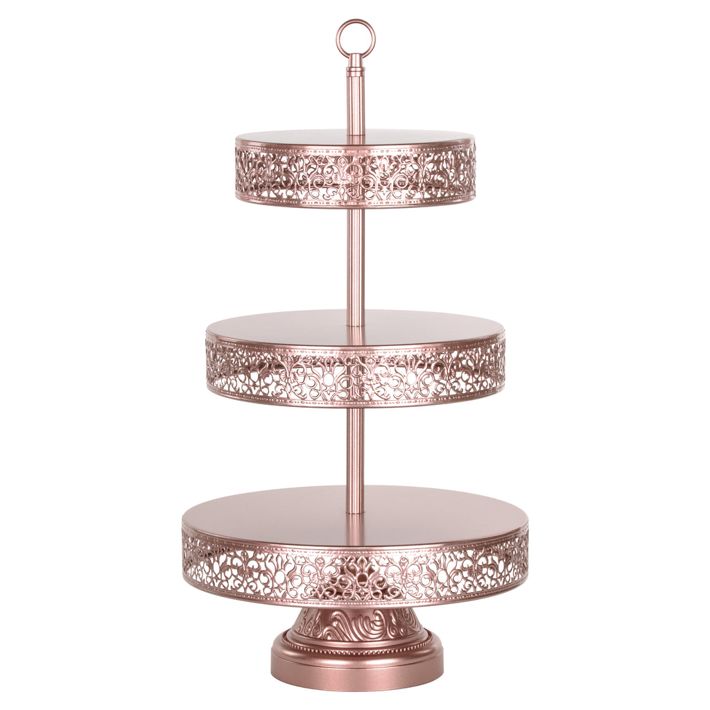 Victoria 3 Tier Rose Gold Metal Dessert Cupcake Stand by Amalfi Decor