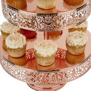 3-Tier Shiny Metallic Rose Gold Plated Reversible Dessert Cupcake Stand | Amalfi Decor