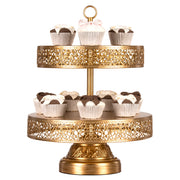 Victoria 2 Tier Antique Gold Metal Dessert Cupcake Stand by Amalfi Decor